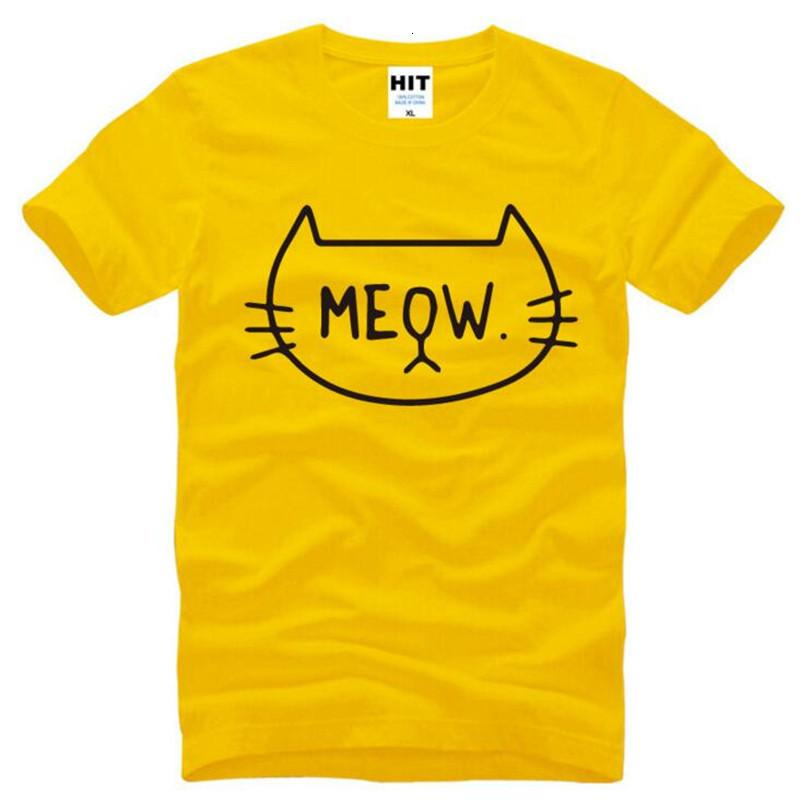 Cute Cartoon Funny MEOW Cat Printed Shirts Men Summer Style Short Sleeve O-Neck Cotton Men's T Novelty Tee Shirt Homme