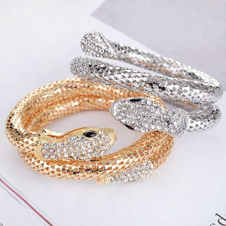 أوروبا الأزياء فاسق الذهب / الفضة ثعبان الإسورة لنساء الرجال الذين يعانون من عشاق بلورات حجر الراين مجوهرات Z95162
