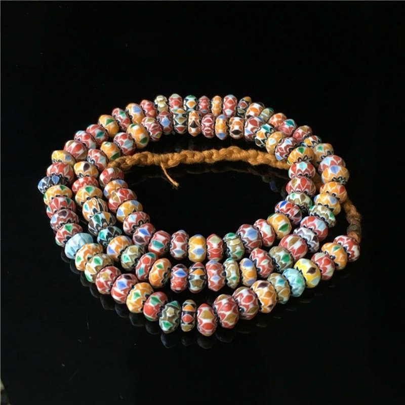 Непал Handmade Acient Glass Colorford Rainbow Disk Bears Strand Tibetan Lampwork Counted Ожерелье TSB0003 201211