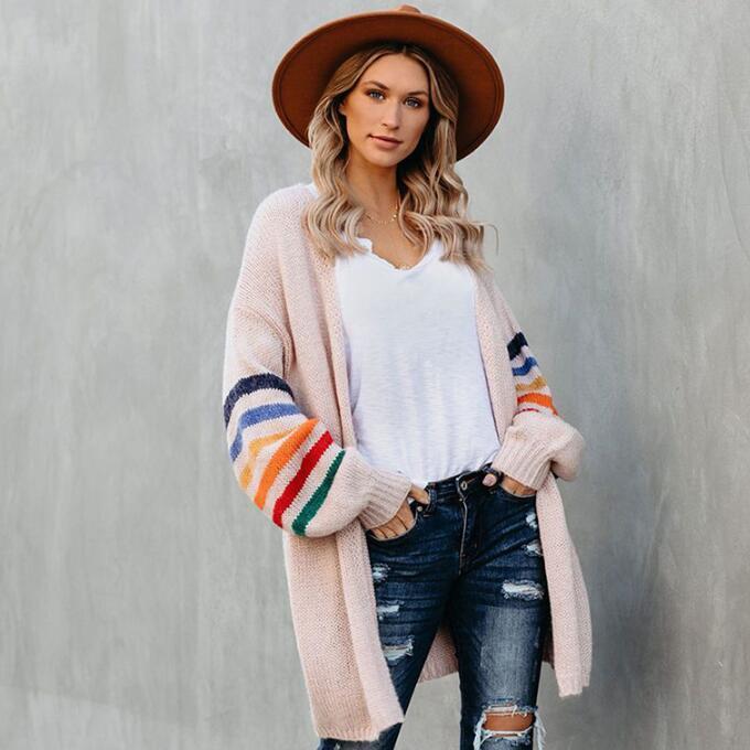 Sexy Mode für Frauen Winter Herbst Pullover Cardigan mit langen Ärmeln Farben Streifen Wollpullover Pullover Halten Sie warme Mantel-Größe S-2XL