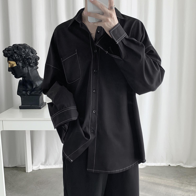 Мужская мода рубашка с длинным рукавом Корейский Стиль Ulzzang Topstitched Design Solid Street Wear Мужские рубашки LJ200928