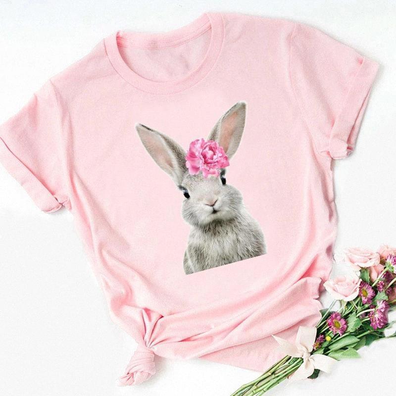 Zogankin Kadınlar Pembe Yaz Kawaii Çiçek Tavşan / Fox / Teddy / Penguen / Alpaka / At / Ayı / Baykuş / Flamingo / Domuz Hayvan Baskı T-shirt # SL4G