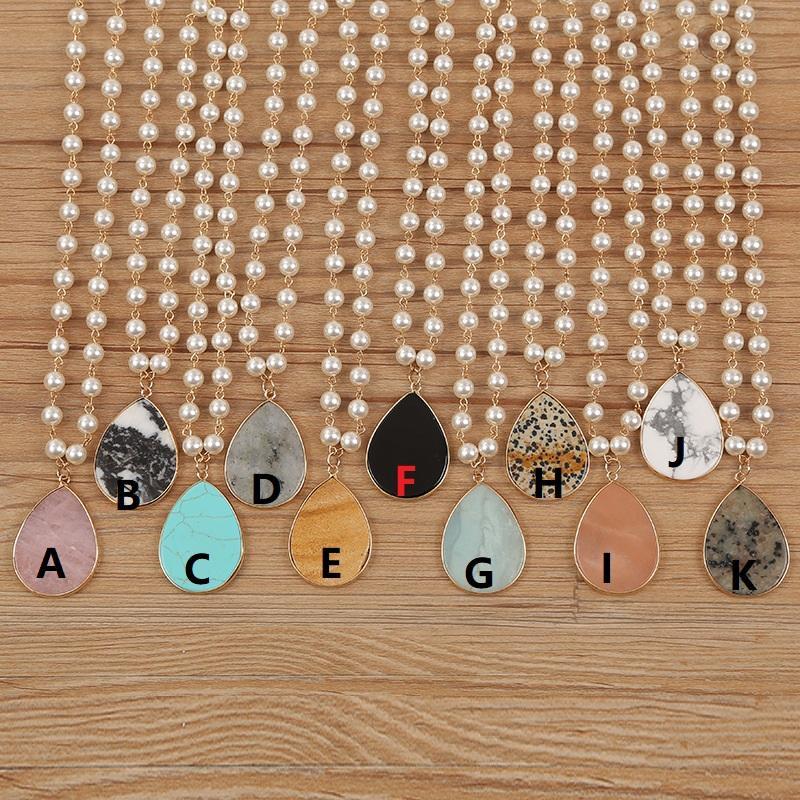Жемчужное натуральное каменное водное капля ожерелье персонализированные бирюзовые леопардовые капли воды кулон ручной работы жемчужная цепь ювелирных изделий аксессуары