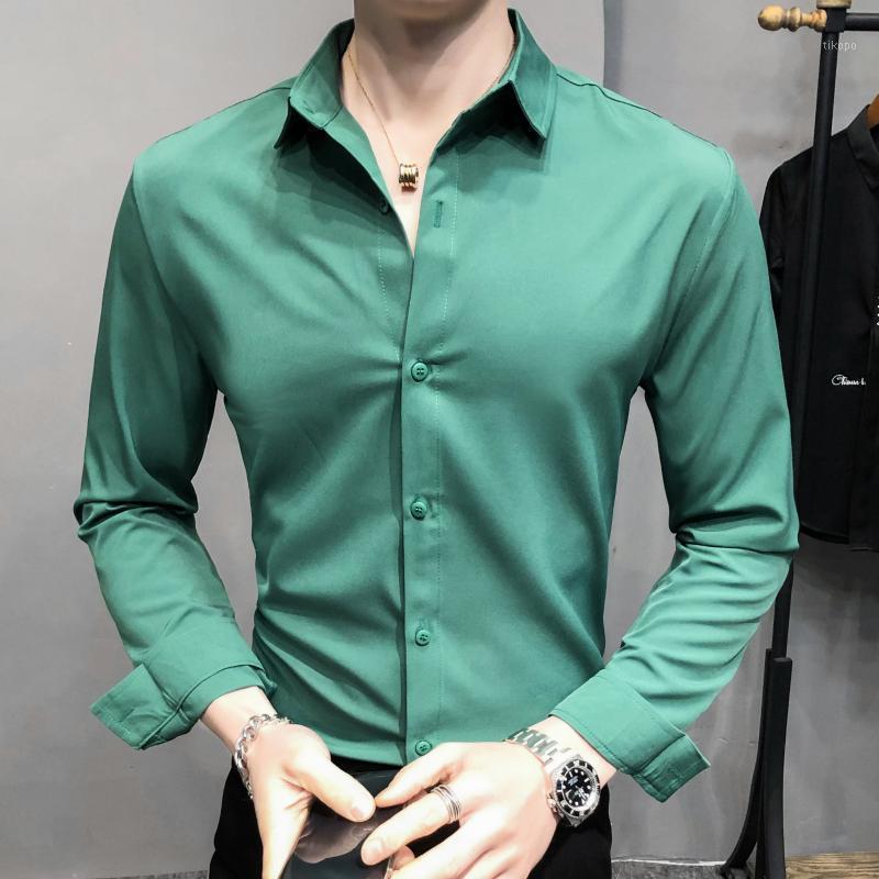Katı Renk Erkek Uzun kollu Gömlek M-5XL Ince Gömlek İngiliz Gömlek Erkekler Elbise Iş Rahat Kırmızı Yeşil Koreli Erkek Giyim1