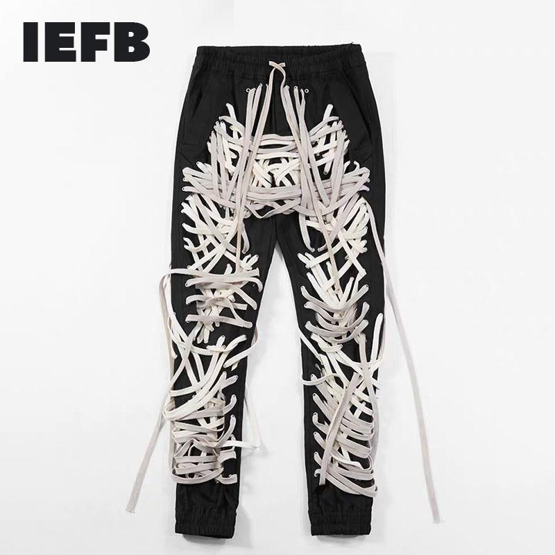 IEFB / Ropa de High Street Strings Patchwork Strings Vendaje Hombre Pantalón High Cintura Casual Slim Pants Streetwear Fashion Tide 201123