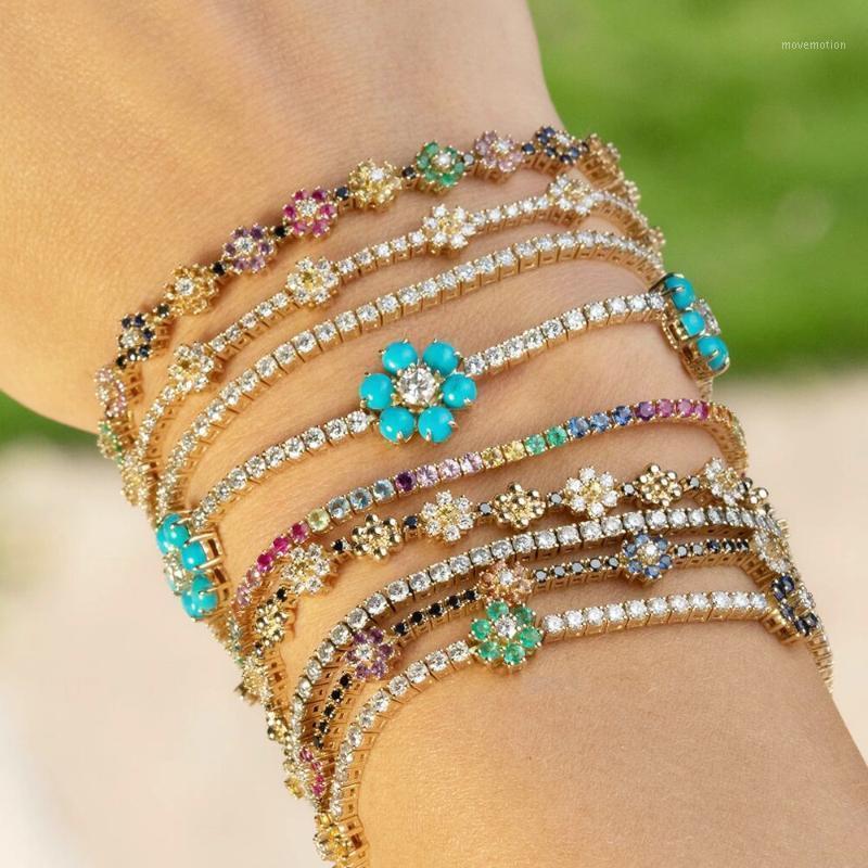 Novo delicado Rainbow CZ fowers charme pulseira 3mm tênis cz cadeia de pedra minúsculos brilhando braceletes brilhantes para mulheres jóias1