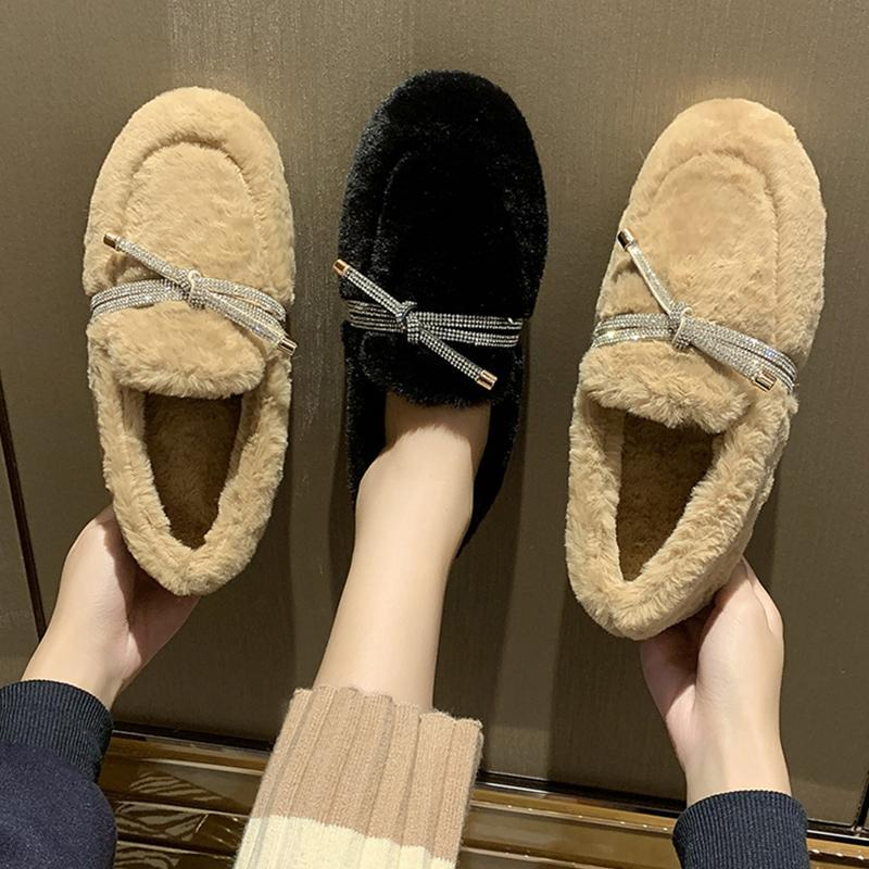 Mocassim Shoes Rodada Toe Casual Feminino Sneakers Mulheres Modis cristal arco-Knot Loafers Fur Flats All-Match Mocassins 2020