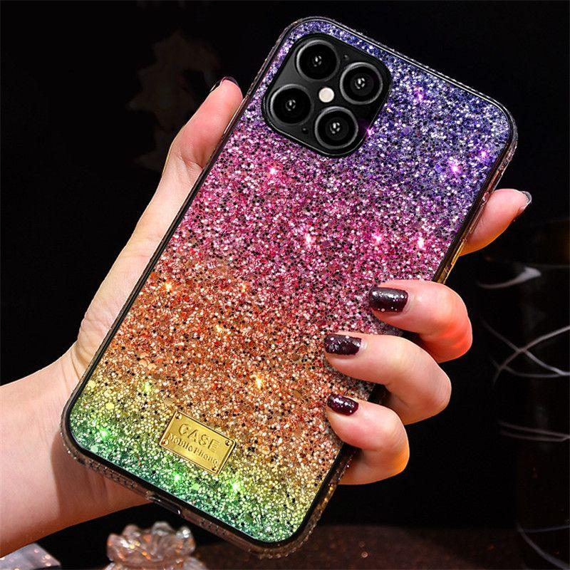 Gradiente Glitter Premium Rhinestone Caso Luxo Designer Mulheres Defender Phone Case para iPhone 12 11 Pro XR XS Max 8 Phone Capa Volta