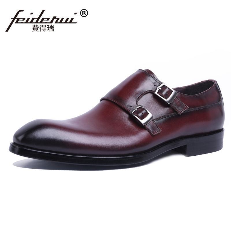 2020 Новое прибытие мужские из натуральной кожи Monk ремни Формальное платье обувь Элегантный Круглый Toe Handmade Мужская обувь Банкет JS116