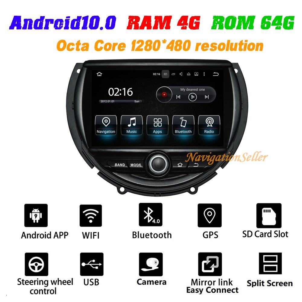 Android10.0 OCTA-CORE 4 + 64G 1024 * 600 HD Screen Voyage DVD Joueur GPS Navigation pour Mini Cooper 2014-2016 avec 4G / Wifi DVR OBD DAB 1080P
