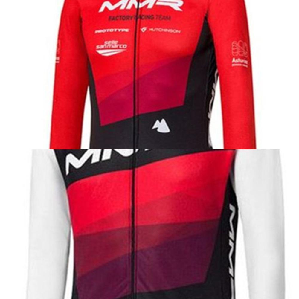 MMR Equipo de invierno Ciclo de invierno Fleece de manga larga para hombre Trajes de chaqueta de ciclismo MTB Ropa de bicicleta BIB medias Ciclismo Sets C0128