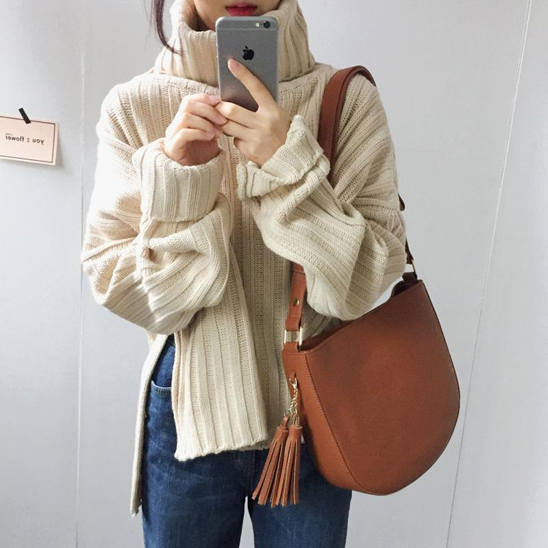 2020 Auutmn inverno donne maglione pullover moda alta nevk femmina kinted chic chic colore caldo spaccato sciolto stile coreano