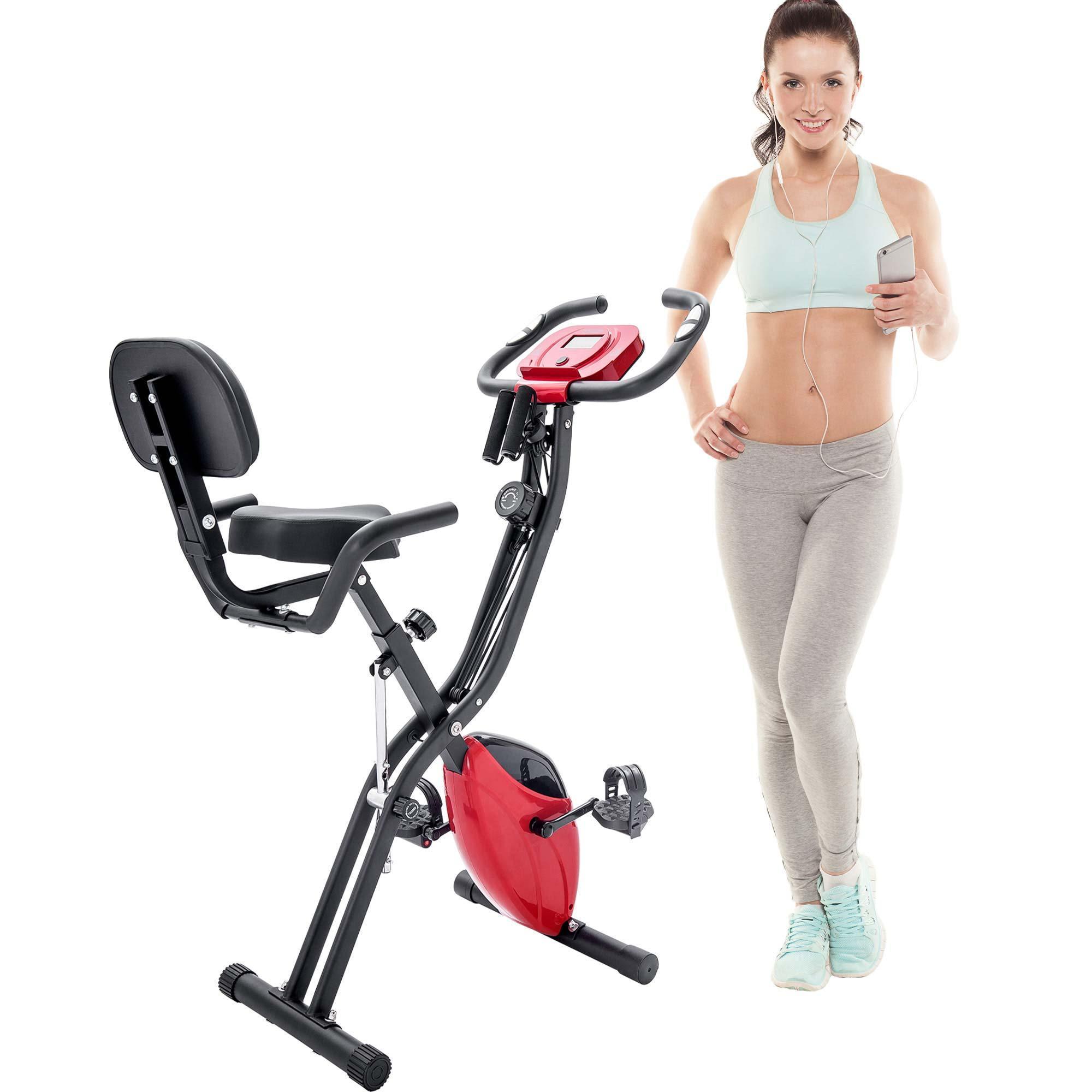ABD Stok, 10-Seviye ile Katlama Egzersiz Bisikleti Spor Dik Yatar X-Bike Ayarlanabilir Direnç, Kol Gruplar ve Sırt MS187237JAA