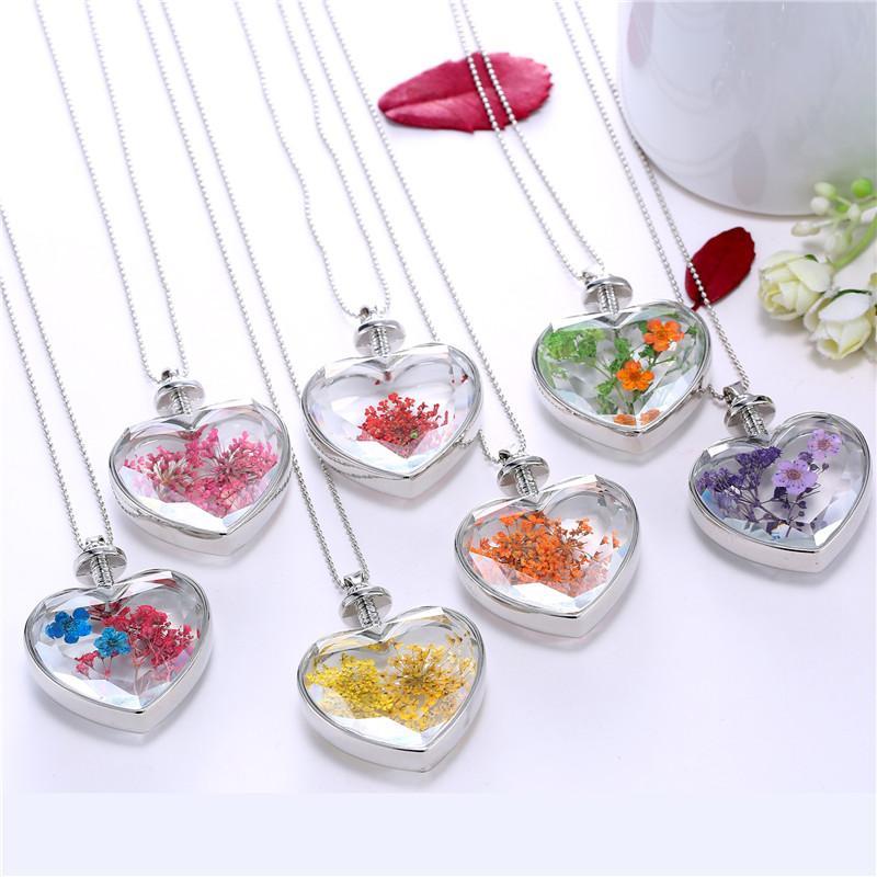 Collier de fleurs en forme de coeur en verre collier pendentif fleur résine réel Dried Bijoux Bijoux Pendentif Collier pour femmes