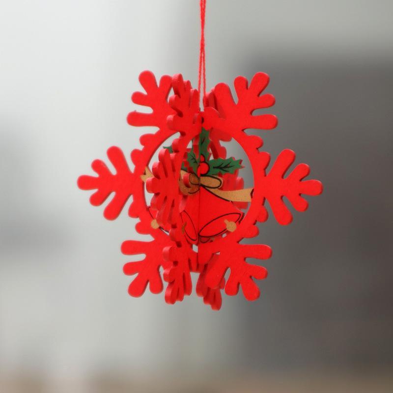 ventas de decoración de madera láser de Navidad árbol de Navidad hueco pequeño colgante de madera campana de estrella de cinco puntas colgante de regalo