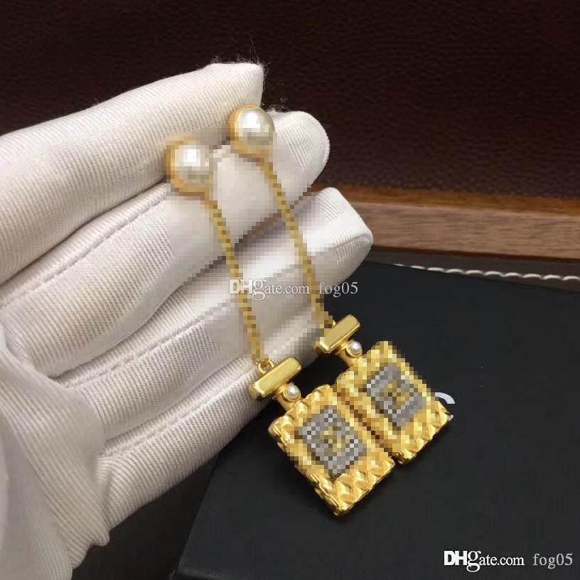 orecchino di goccia forma della bottiglia di profumo lunga catena di qualità di lusso con scintillante e perla per le donne di nozze regalo gioielli PS4423