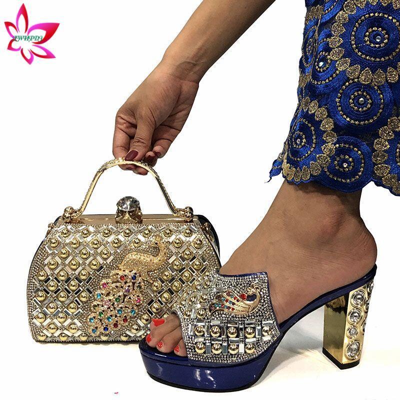 2020 Sapatos mulher que vende INS quente e combinando Bag Set Estilo Africano Bombas Sapatas E Wedding Bag Set para o partido em azul escuro