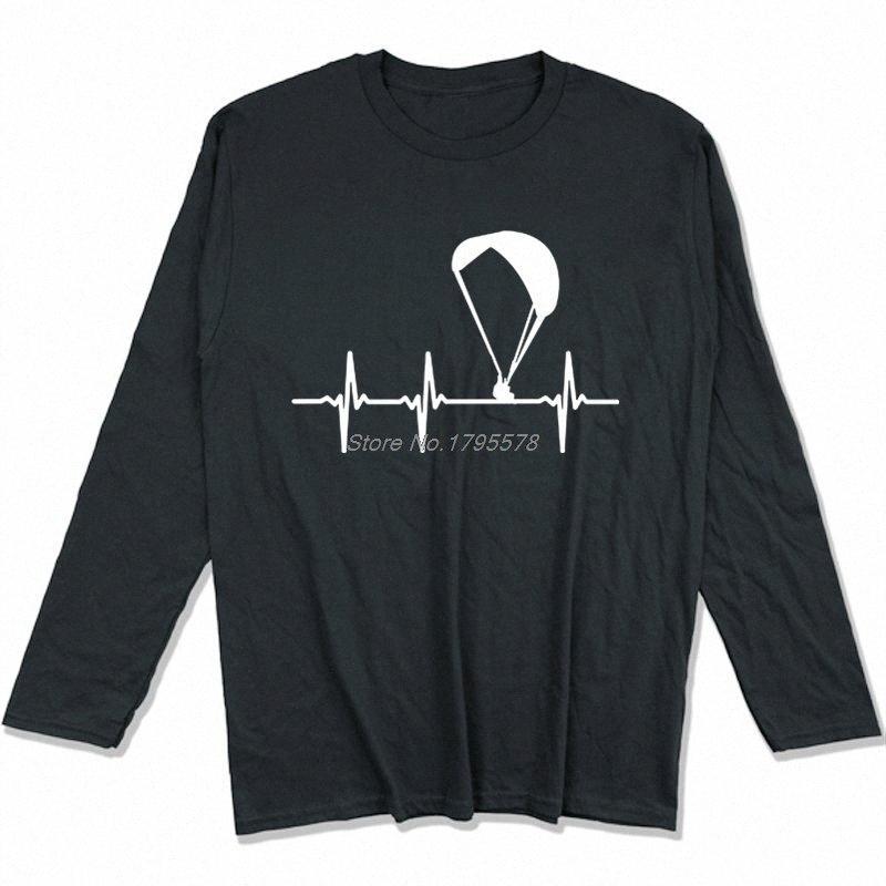 Parapendio Ecg maglietta Primavera Autunno Uomini cotone a maniche lunghe T-shirt divertente Hip Hop Tees Tops Harajuku Streetwear oXW6 #