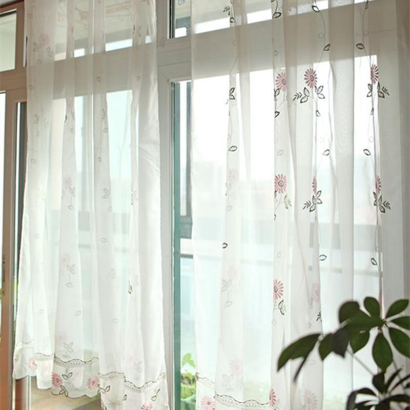 Sala de estar de margarita bordada fresca Ventana francesa Terri Wong Hilado Cortina de alta calidad Translucidus Voile Cortina 175 cm Ancho