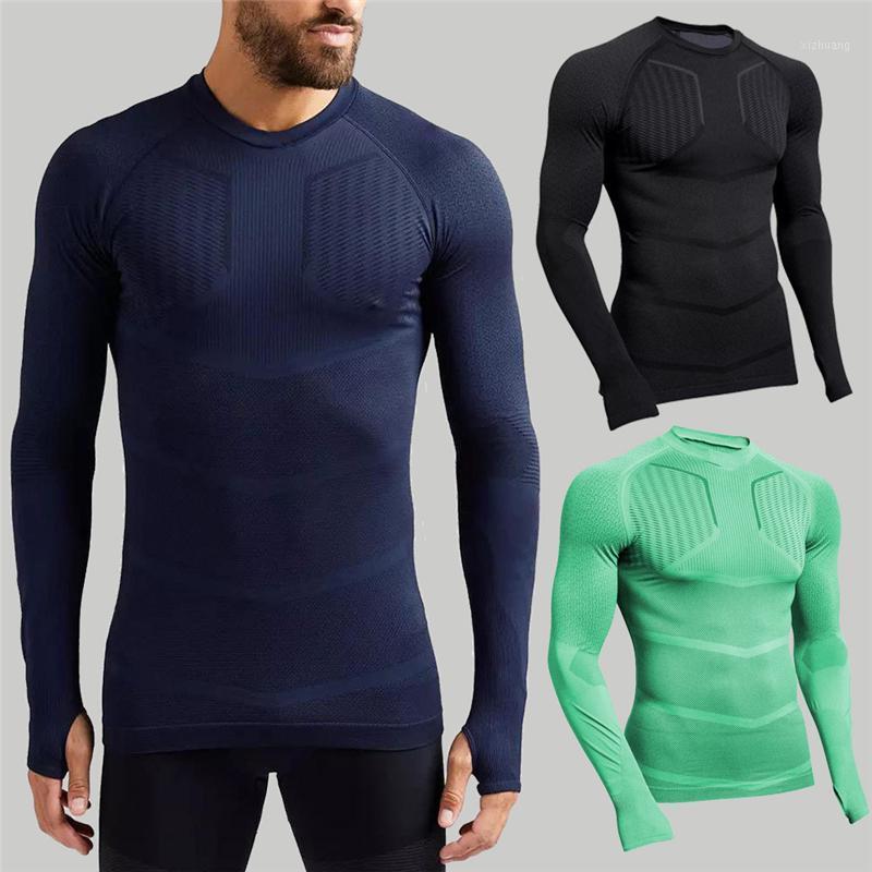 2020 Compressione della primavera Asciugatura rapida Asciugatura a maniche lunghe uomo traspirante T-shirt maschio moda fitness camicia palestra joggers felpa1