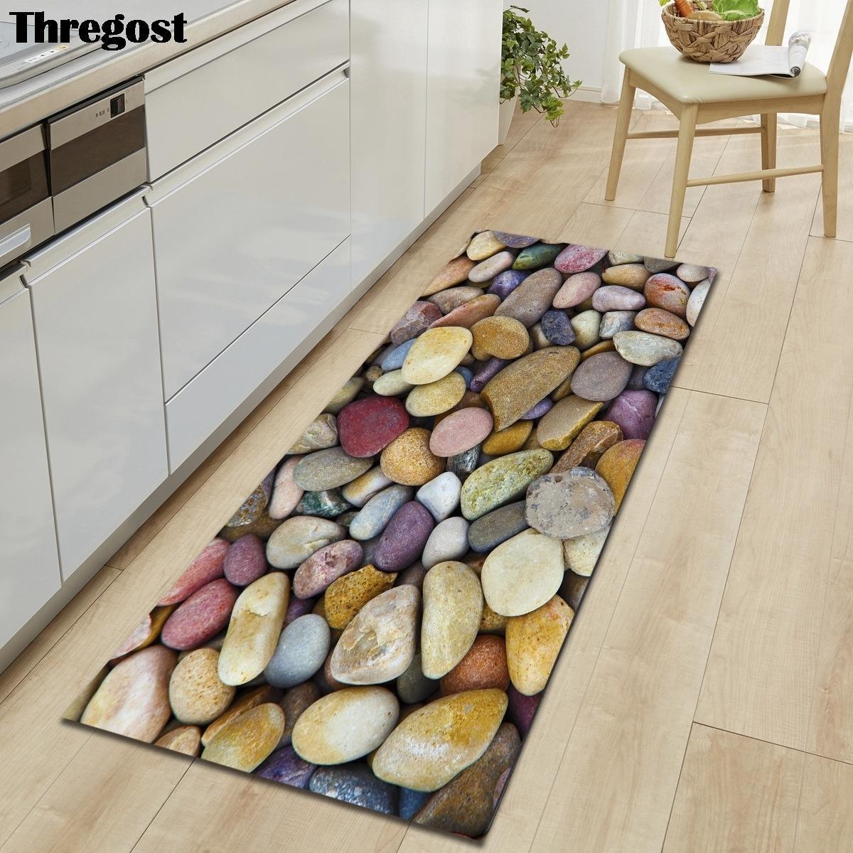 3D pierre imprimé de longs tapis de sol en microfibre tapis tapis tapis antidérapeulage antidérapant pour la cuisine absorbant paillasson LJ201128
