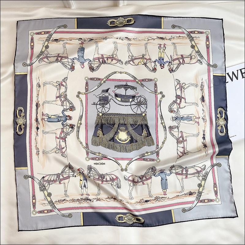 Écharpe en soie Foulard Satin Satin Écharpe Femme Tête de soie Foulards pour Dames Main Cousu Cousu Echarpe 90 Carriage Imprimer Foulard