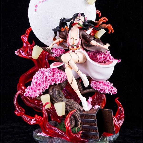 Demon Slayer GK Demon Dönüşüm Kamado Nezuko Patlayan Kan Sürümü Anime Action Figure Modeli Heykeli Koleksiyon Oyuncak Hediye 1008