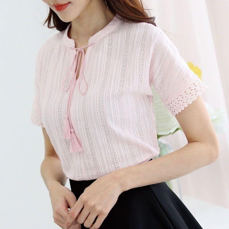 100% хлопок Летние блузки Женщины с коротким рукавом кружева полые рубашки белые корейские дамы топы женские блусы розовый синий B213 Y200622