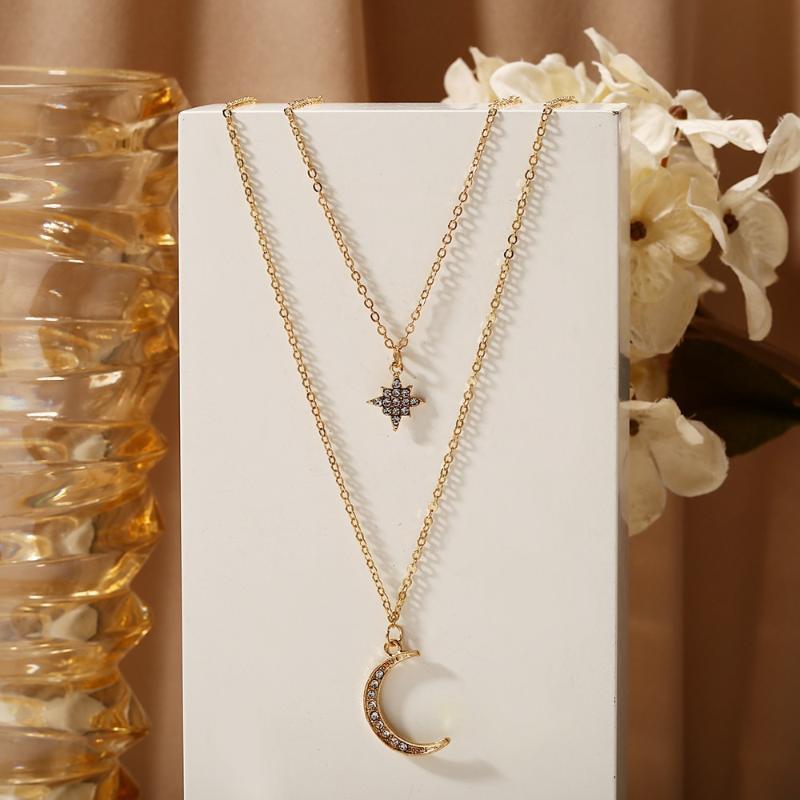 Золотой цвет Choker ожерелье для женщин 2 слоев звезды луны Подвески Цепной ожерелья Подвеска бархата Чокеры ювелирных изделий