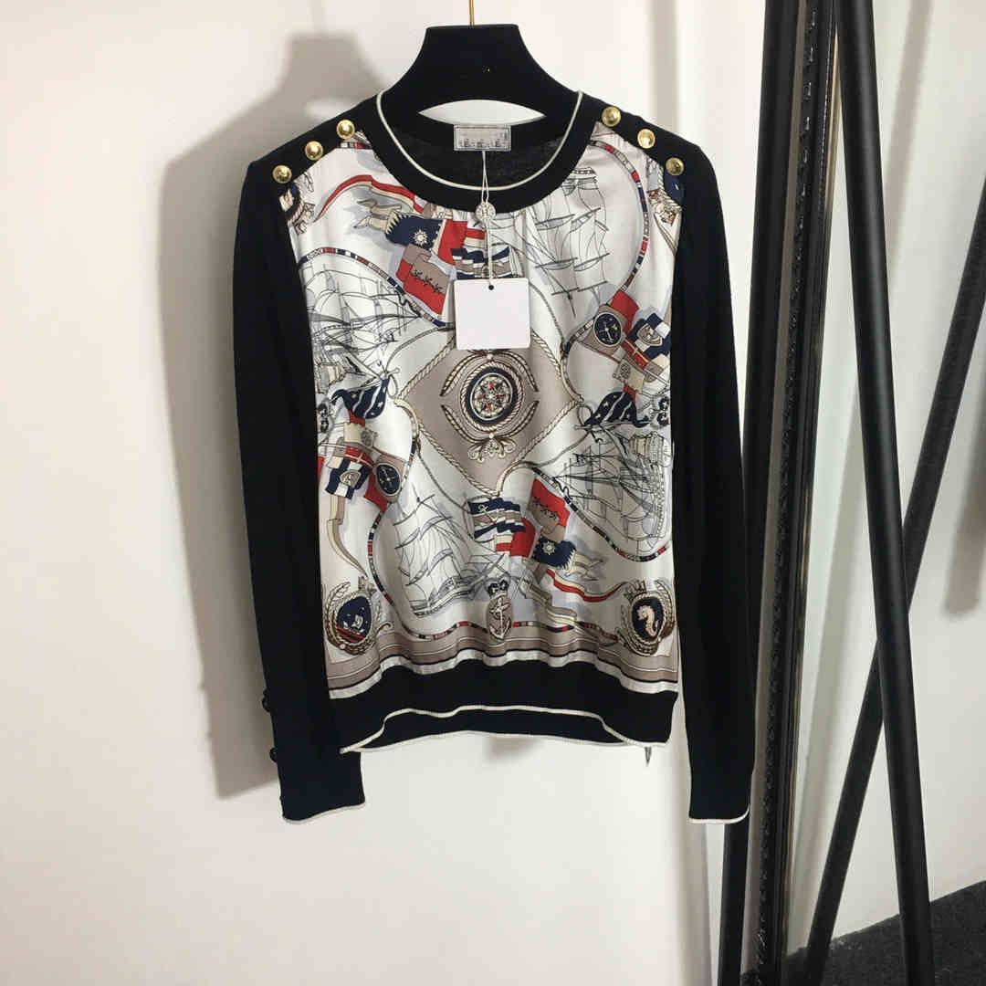 Milano Pisti T-shirt 2021 O Boyun Uzun Kollu Baskı Tasarımcısı T-shirt Marka Aynı Stil T-shirt 1228-26