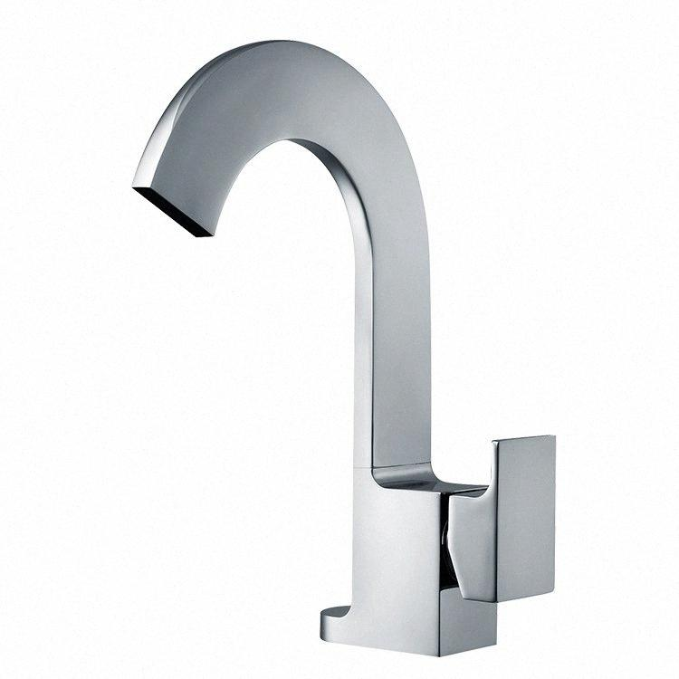 Brass Chrome Kitchen Faucets Square Waterfall Basin Faucet Swivel Single Handle Single Hole Mixer Taps Hot Cold Deck Mounted New9#