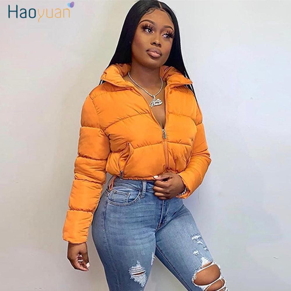 Haoyuan recortada Puffer Chaqueta para la ropa de las mujeres calientes del invierno Parka cortocircuito de la manera Outwear de manga larga con cremallera abrigos de burbuja gruesa abajo