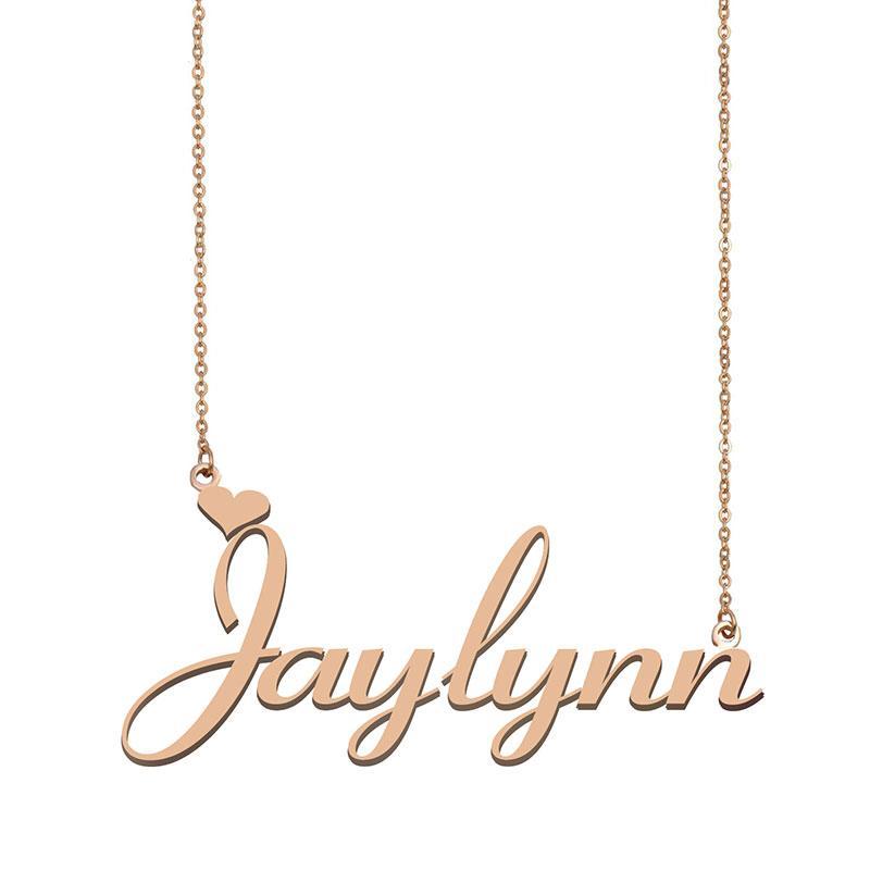 Jaylynn colares nome pingente personalizado costume para crianças mulheres meninas melhor amigos das mães presentes de ouro 18K de aço inoxidável