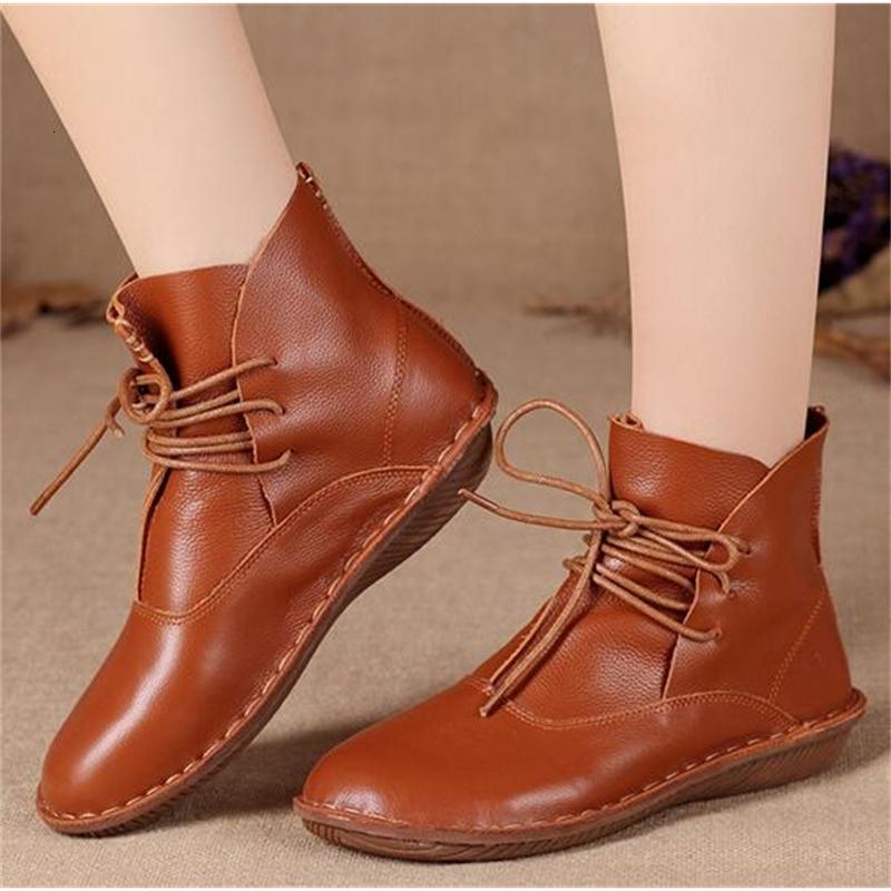 Frauen Kuh Leder Knöchelstiefel Lace Up Single Shoes Retro Japanische Kunst Sen Weibliche Runde Stiefel Frauen draußen Kurzer Bootsewl8