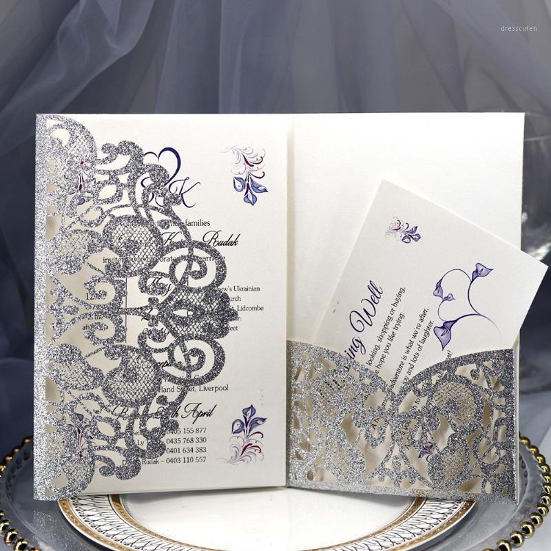 10 pcs Bowknot Glitter Convites Estilo Europeu Corte de Laser Convites Casamento Caso de Cartão de Feriado + Cartão Interno * 21
