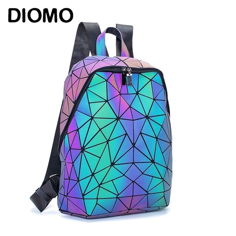 Diomo Mode Luminous Triangle irrégulier Grand capacités Sac à dos d'école pour femmes Rucksack Femelle Ordinateur portable Sac coréen Y201224