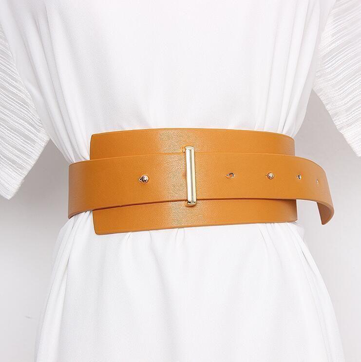 Pista de mujer Moda PU Cuero Cummerbunds Vestido femenino Corsés Cinturones Cinturones Decoración Cinturón ancho R2332 LJ200921