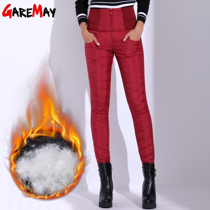 Gearemay зимние брюки женщины утка вниз бархат высокая талия узкие теплые формальные брюки женские черные эластичные талии работы брюки женщин T200102