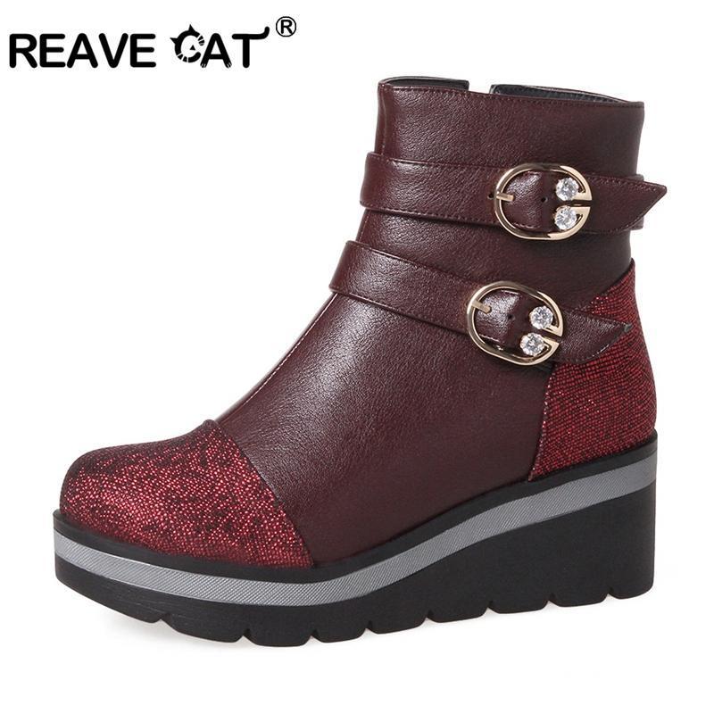Bottines de chat d'hiver Bottines rondes chaussures PU femmes de haute qualité grande taille grande taille bottes plateforme coins zippets chaussures femmes A962