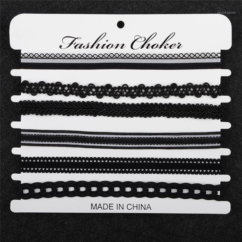 Chokers Boho Lady's Charm Chaker Растягивающие готический кружевной колье винтажные ожерелье1