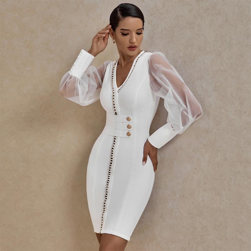 Ocstrade Yeni Geliş Süslenmiş Mesh Uzun Kollu Bandaj Elbise 2020 Sonbahar Kış Kadın Beyaz Bandaj Elbise BODYCON Parti