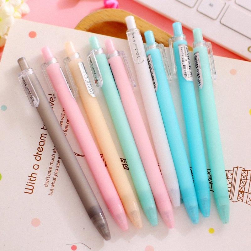 0.38mm Negro tinta del bolígrafo pluma del gel del caramelo encantador colorido Color Press gel neutro Oficina de la Escuela de escritorio PC 1 PyFW #