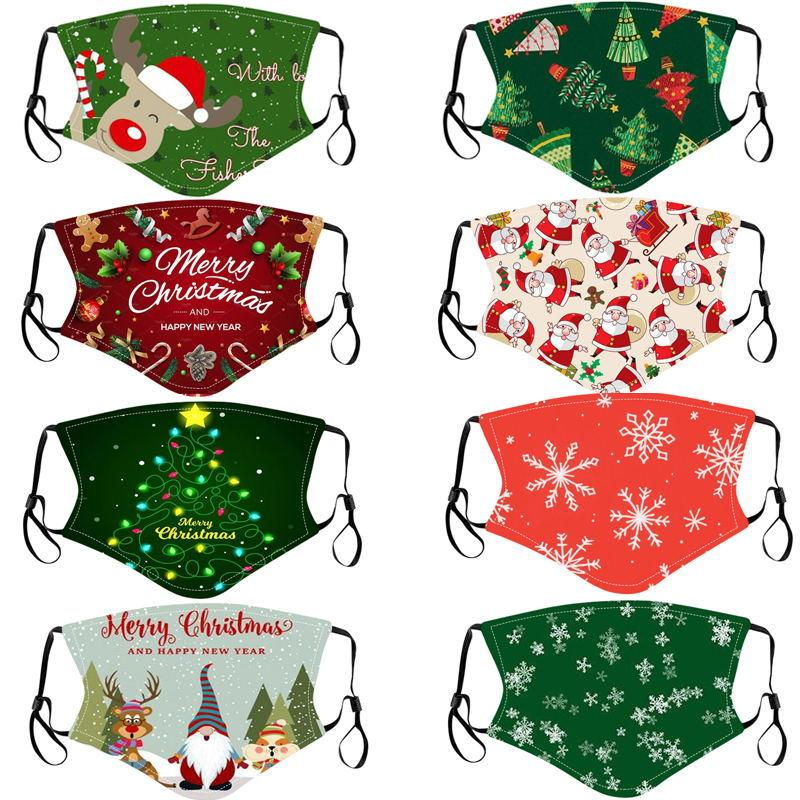 Designer Forma Christmas Crianças Adult Face Masks Xmas Face Masks Anti Poeira Floco de Neve Floco de Neve Capa Lavável Reusável Com Bolso De Filtro