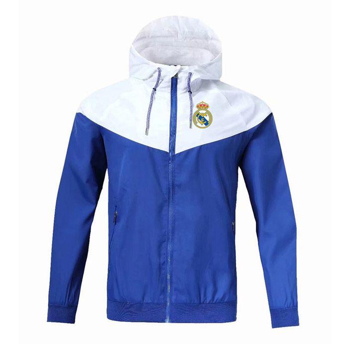 Real Madrid WINDBREAKER fermuar ceket Kapşonlu futbol WINDBREAKER Futbol ceket Spor tam fermuarlı ceket Erkekler Ceketler