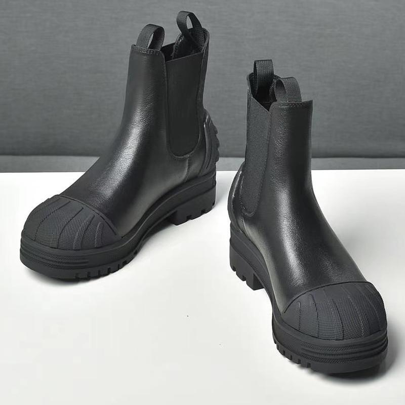 Corrente Rhombic Chain De Couro Genuíno Botas de Couro Luxo Splicing Médio Salto de Alta Qualidade Curta Calcon Botas Boots Caixa
