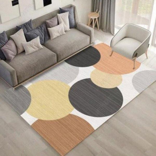 Nordic Style großen Teppich Geometrischer Kreis Niedlich Schlafzimmer Wohnzimmer Sofa nicht Beleg-Matte eqp1 #