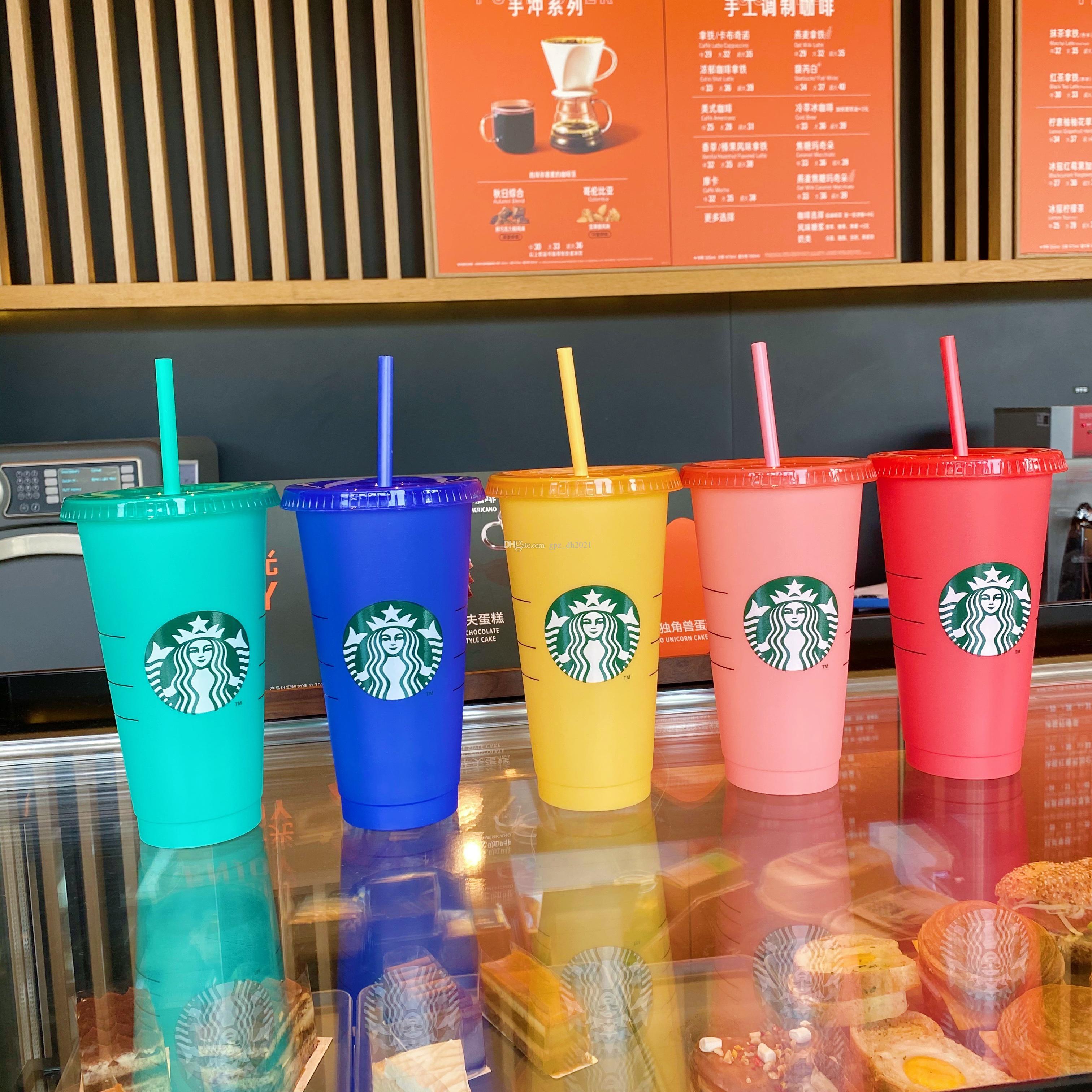Starbucks 24oz اللون تغيير المروم البلاستيك شفافة شرب عصير كوب مع الشفاه و القش سحر القهوة القدح كوستوم اللون تغيير محفظة 5PCS