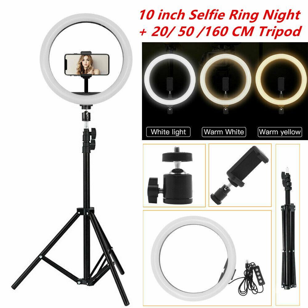 """10 """"Светодиодное кольцо светлое фотографическое селфи кольцо подсветки с подставкой для смартфона YouTube Tiktok Makeup Video Studio Tripod Ring Light"""