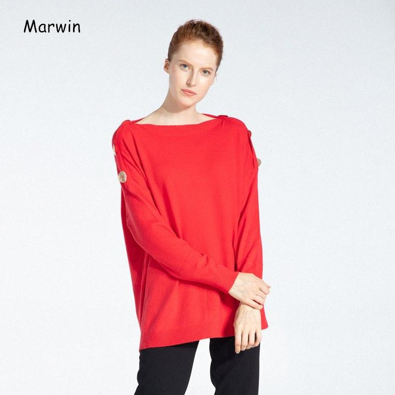Marvin Winter 2019 Hard and Loose Slant Neck Button Street Office Style Women's Sweaters Soft Women's Drops JdkV#