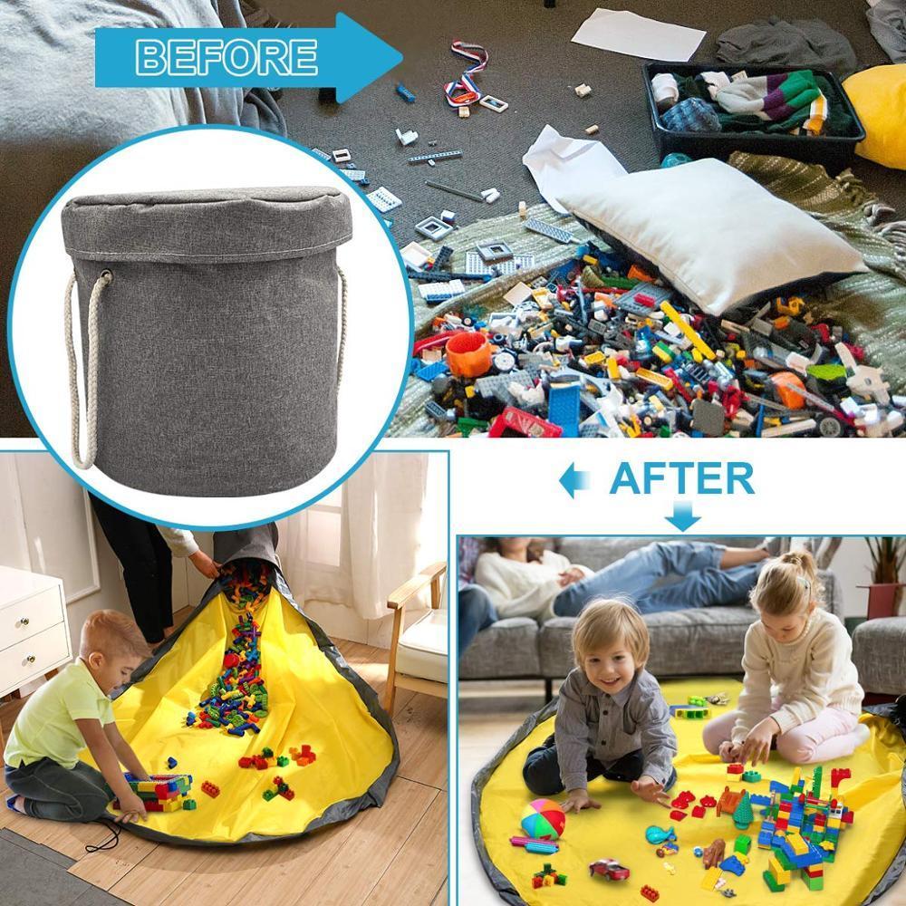 Bricolage Slideaway Jouet de nettoyage et de stockage pliables Sac de rangement pour les enfants Lego Jouets + Tapis de jeu avec cordon de serrage Paniers Sacs
